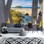 Beach Coastal 3D Modern View Concrete Photo Wallpaper Mural (3659VE)