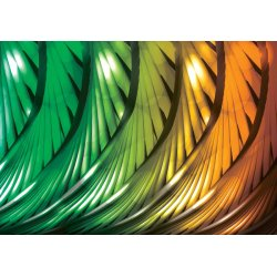 3D Abstract Art Green And Orange Photo Wallpaper Mural (499VE)
