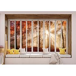 3D Window View Autumn Forest Photo Wallpaper Mural (10659VE)
