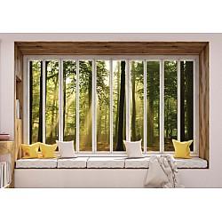 3D Window View Sunlight Forest Photo Wallpaper Mural (10663VE)