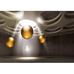 3D Modern Design Gold Spheres Photo Wallpaper Mural (3319VE)