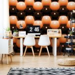 3D Orange And Black Ball Pattern Photo Wallpaper Mural (500VE)