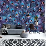 Peacock Feathers Blue And Purple Photo Wallpaper Mural (11046VE)