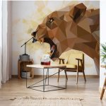 Polygon Lioness Light Colours Photo Wallpaper Mural (11558VE)