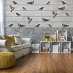Vintage Chic Birds And Floral Design Photo Wallpaper Mural (12062VE)