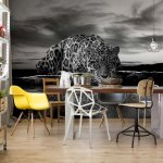 Leopard Black And White Photo Wallpaper Mural (2593VE)