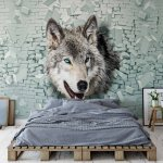 Wolf 3D Bursting Through Brick Wall Photo Wallpaper Mural (2941VE)
