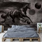 Black Horse 3D Modern Design Photo Wallpaper Mural (3137VE)