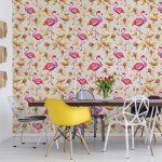 Modern Tropical Flamingo Pattern Yellow Photo Wallpaper Mural (3327VE)