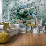 3D Dolphins Bursting Through Brick Wall Photo Wallpaper Mural (3447VE)