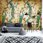 Peacocks Vintage Pattern Sepia Photo Wallpaper Mural (3584VE)