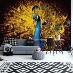 Peacock Bird Gold Feathers Photo Wallpaper Mural (631VE)