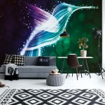 Hummingbird Neon Lights Wallpaper Photo Mural (769VE)