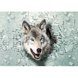 Wolf 3D Bursting Through Brick Wall Photo Wallpaper Mural (2941VE)