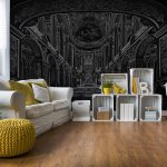 Black-Line-Drawing-Architecture-Photo-Wallpaper-Mural-(10689VE)