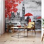 London-Red-Black-White-Art-Painting-Photo-Wallpaper-Mural-(11471VE)