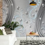Ornamental-Silver-And-Blue-Swirl-Design-Photo-Wallpaper-Mural-(2045VE)