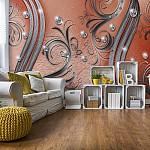 Ornamental-Silver-And-Orange-Swirl-Design-Photo-Wallpaper-Mural-(2048VE)