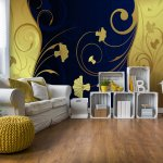 Luxury-Gold-And-Blue-Floral-Swirl-Design-Photo-Wallpaper-Mural-(2052VE)