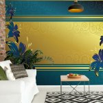Luxury-Floral-Design-Blue-Photo-Wallpaper-Mural-(2084VE)