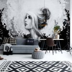 Woman-Black-And-White-Photo-Wallpaper-Mural-(20842VE)