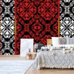 Red-Black-And-White-Ornamental-Pattern-Photo-Wallpaper-Mural-(2288VE)