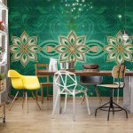 Green-Gold-Abstract-Pattern-Photo-Wallpaper-Mural-(2380VE)