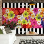 Colourful-Flowers-Black-And-White-Strips-Photo-Wallpaper-Mural-(2385VE)