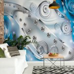 Roses-Diamonds-Luxury-Design-Blue-Photo-Wallpaper-Mural-(2496VE)