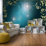 Floral-Pattern-Gold-And-Blue-Photo-Wallpaper-Mural-(2659VE)