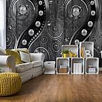 Luxury-Ornamental-Design-Pearls-Black-And-Grey-Photo-Wallpaper-Mural-(2971VE)