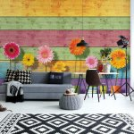 Sunny-Flowers-And-Colourful-Wood-Planks-Photo-Wallpaper-Mural-(3710VE)