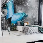 Butterfly-Blue-And-Grey-Photo-Wallpaper-Mural-(574VE)