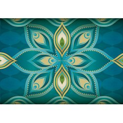 Blue,-Green,-And-Gold-Ethnic-Design-Photo-Wallpaper-Mural-(1430VE)