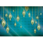 Blue,-Green,-And-Gold-Ethnic-Design-Photo-Wallpaper-Mural-(1431VE)