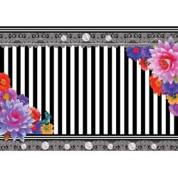 Colourful-Flowers-Black-And-White-Strips-Photo-Wallpaper-Mural-(2389VE)