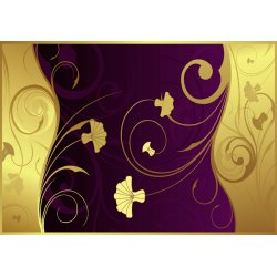 Luxury-Gold-And-Purple-Floral-Swirl-Design-Photo-Wallpaper-Mural-(2054VE)