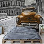 Vintage Car Cuba Havana Yellow Photo Wallpaper Mural (1179VE)