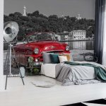 Havanna Cuba Red Vintage Car Photo Wallpaper Mural (11859VE)