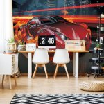 Red Car Photo Wallpaper Mural (132VE)