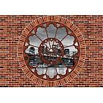 Brooklyn Bridge Ornamental Window View Brick Wall Mural (2178VE)
