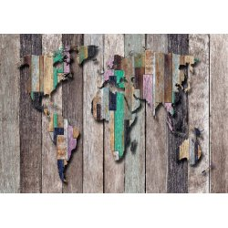 3D World Map Painted Wooden Planks Photo Wallpaper Mural (3135VE)