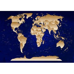 Blue And Gold World Map Photo Wallpaper Mural (10870VE)