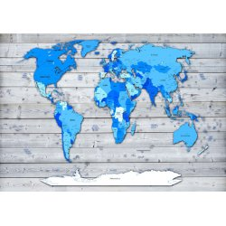 Blue World Map On Wood Background Photo Wallpaper Mural (10868VE)
