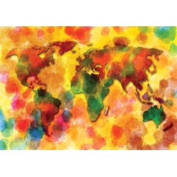 Colourful World Map Photo Wallpaper Mural (10423VE)