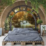 Forest Waterfall Archway View Photo Wallpaper Mural (11553VE)
