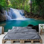 Turquoise Forest Lake Waterfall Photo Wallpaper Mural (11893VE)