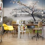 Cherry Blossom Mountain Path Photo Wallpaper Mural (12022VE)