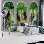 Waterfall Lake 3D Archway View Photo Wallpaper Mural (2347VE)