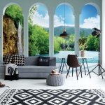 Waterfall Lake Forest 3D Archway View Photo Wallpaper Mural (2353VE)
